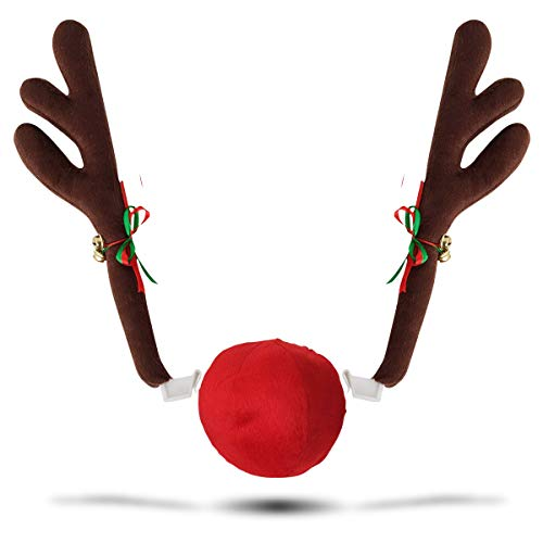 Reindeer For Cars (Zone Tech Car Reindeer Accessory Set - Premium Quality Christmas Car Jingle Bell Antlers and Nose Car Costume Set for)