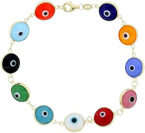 Sterling Silver Evil Eye Bracelet for Women and Girls 10 mm Glass Eyes Available in All Colors 7 inch