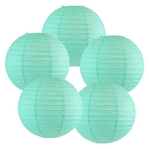 (Just Artifacts 10-Inch Baby Blue Chinese Japanese Paper Lanterns (Set of 5, Baby Blue))