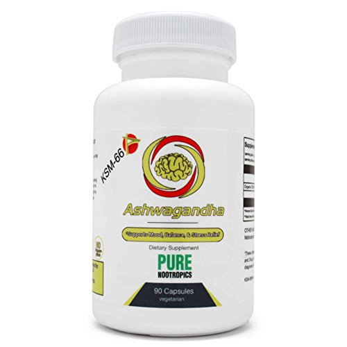 Ashwagandha (KSM-66®) Herbal Supplement by Pure Nootropics - All Natural Mood Support | Maximum Absorption - Relieve & Restore Symptoms of Stress, Anxiety, Fatigue | Improve Focus – 90 Capsules