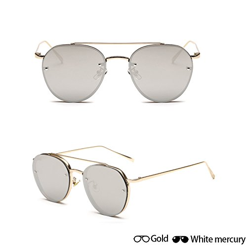 sol completo de W gafas W Nueva oro gafas grey Mujeres Ocean ZHANGYUSEN sol hombres Gold de White sol moda señoras Oculos de de aviador Gafas fotograma Unisex de gafas lentes gIHqTYwA