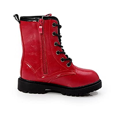 Bakerdani Kids Boys Girls Combat Lace-Up Side Zipper Mid Calf Martin Boots