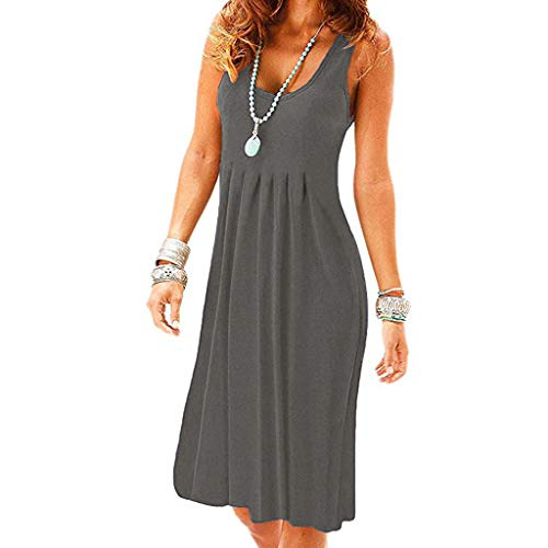 Londony✚‿✚ Women's Solid Color Sleeveless Swing Tunic Casual Pockets Loose T Shirt Dress Gray ()