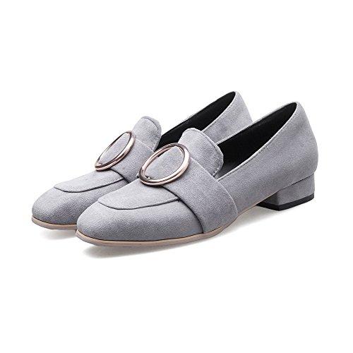 VogueZone009 Damen Rein Blend-Materialien Niedriger Absatz Ziehen auf Quadratisch Zehe Pumps Schuhe Grau