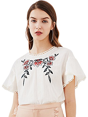 ROMWE Women's Flower Embroidered Top Lace Trim Keyhole Back Tee Shirt Blouse White M