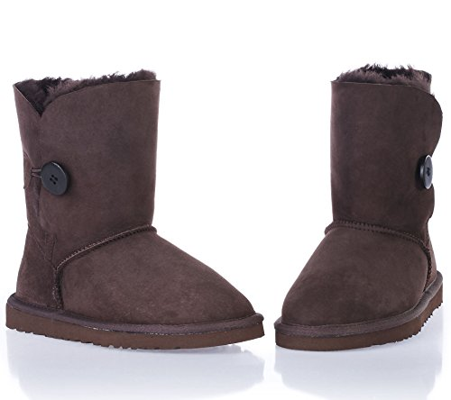 Boots Boots Winter Girls Chocolate Bailey Ladies 5803 Augroo Sheepskin Boot Button Boots Shearling Women Snow Warm xqwvZ07Y