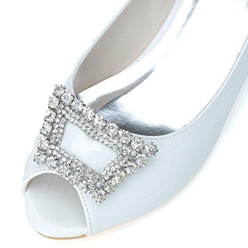 Kopf Frauen Hochzeit Toe Chunky Brautjungfern PU Elobaby Mode Pumps 5 3 Runde cm Heel Schuhe Peep B4qBaI