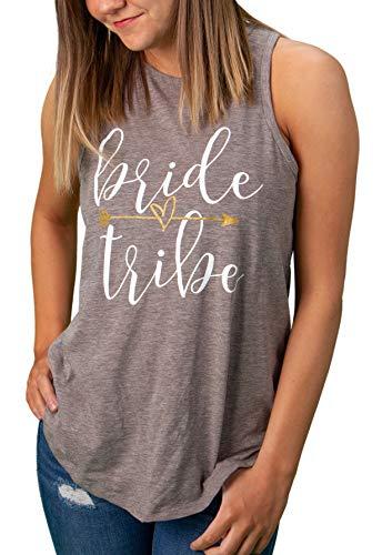 TGWED-HN-BTA-51L - High Neck Bridal Tank Top - Bride Tribe w/ Arrow, Heather Grey (L) -