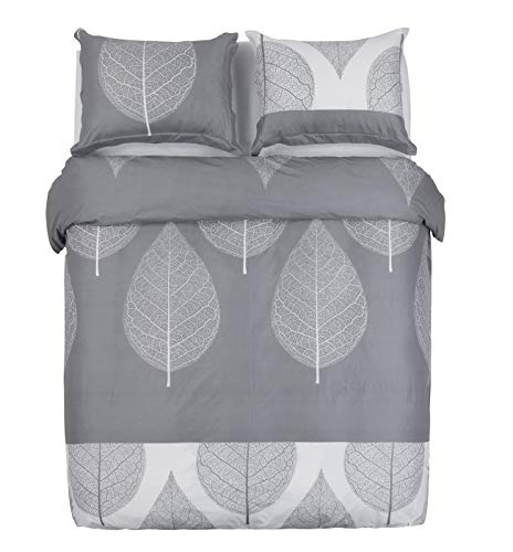 Word of Dream Duvet Cover with Zipper Closure - Leaves Pattern Printed, Ultra Soft Brushed Microfiber, King - 3 Piece (1 Duvet Cover + 2 Pillow Shams)