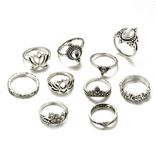 (Balakie 8pcs Ring Bohemian Vintage Carving Silver Stack Knuckle Stackable Rings for Women)