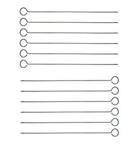 Great Credentials 12-Inch Long Stainless Steel Skewers, Barbecue Skewers, BBQ Skewers, Shish Kebab Kabob Skewers, Ring-Tip Handle, 1-Dozen (12)
