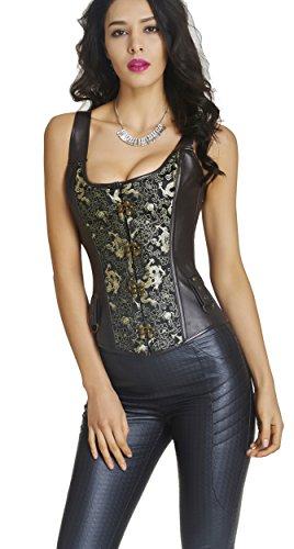 Blidece Women Gothic Steampunk Punk Rock Faux Leather Buckle-up Overbust Bustier Corset Vest XL