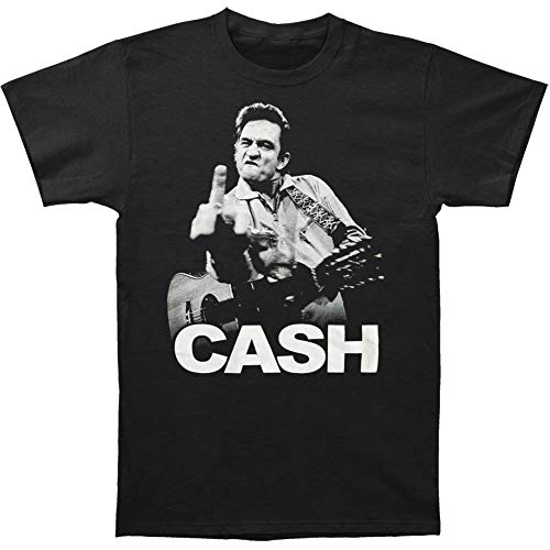 Johnny Cash Flipping the Bird Finger Black Adult T-shirt Tee (XX-Large) (Johnny Cash Flipping)