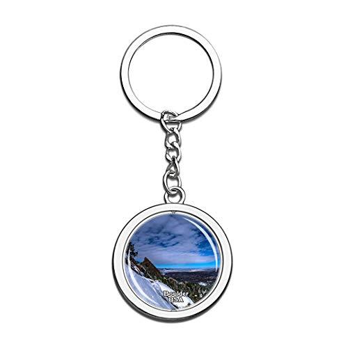 Keychain Colorado Chautauqua Park Boulder United States USA US Keychain Crystal Spinning Round Stainless Steel Keychains Souvenir Key Chain Ring -