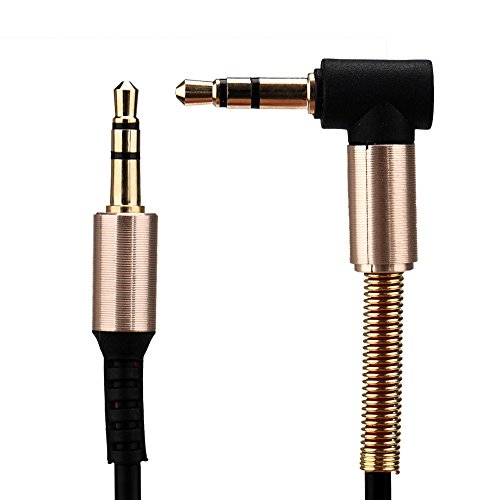 - ❤️Jonerytime❤️3.5mm Jack Elbow Male to Male Stereo Headphone Car Aux Audio Extension Cable (Black)