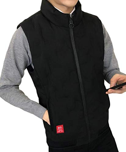 Jacket Quilted Vest Padded Solid Gocgt Collar Stand Mens Warm Black Puffer Coat TwqFA4x