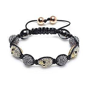 Bling Jewelry Shamballa Inspired Bracelet Gold Plated Crystal Skull