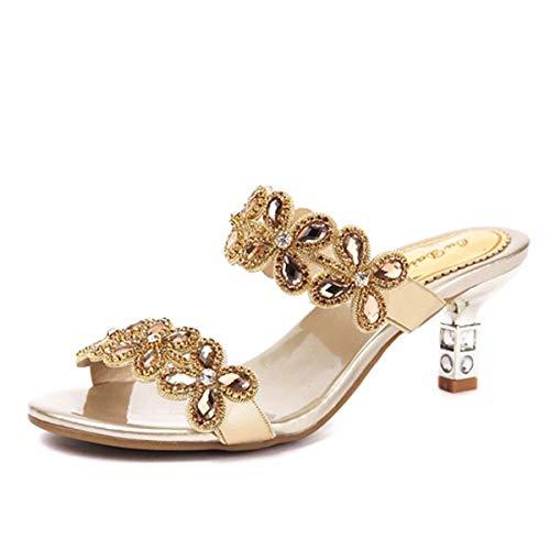 De Bohemia Verano Sandalias Golden Medio Zapatos Taladro 5 Hbdlh cuero Cristal Zapatillas Alto Cm Tacón Mujer Agua U5Bxwqf