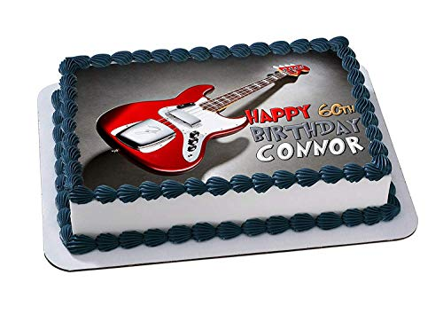 EdibleInkArt Electric Guitar Edible Cake Topper Personalized Birthday 1/4 Sheet Decoration Custom Sheet Party Birthday on Wafer Rice Paper]()