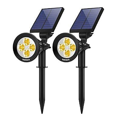 Nekteck Solar Lights Outdoor, 2-in-1 Solar Spotlights Powered 4 LED Adjustable Wall Light Landscape Lighting, Bright and Dark Sensing, Auto On/Off for Yard, Pathway, Garden