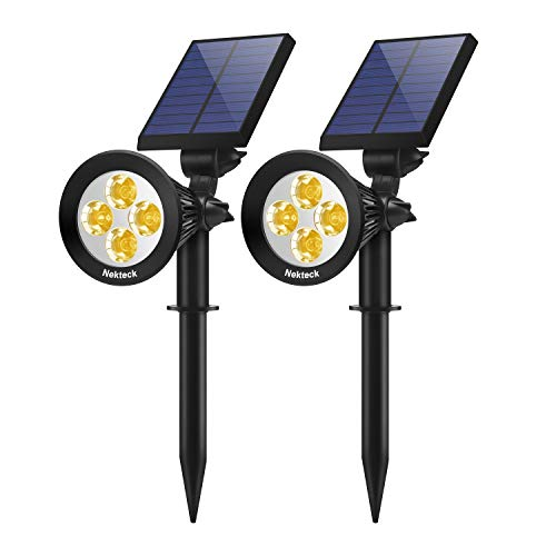 Nekteck Solar Lights Outdoor, 2-in-1 Solar Spotlights Powered 4 LED Adjustable Wall Light Landscape Lighting, Bright and Dark Sensing, Auto On/Off for Yard, Pathway, Walkway, Garden, Driveway, 2 Pack