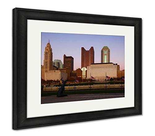 City Center at Dusk in Columbus, Ohio, Wall Art Home Decoration, Color, 34x40 (Frame Size), Black Frame, AG32464238 (Columbus City Center)