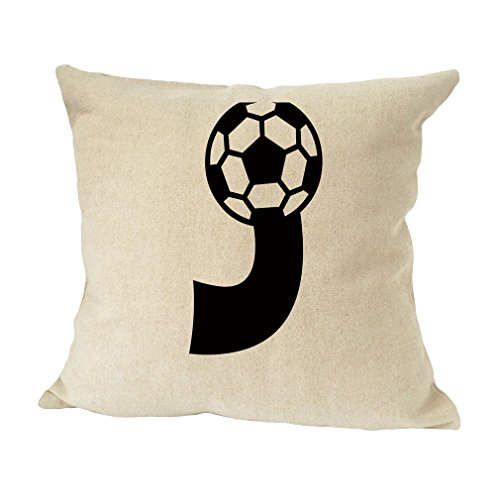 ''J '' Soccer Initial Monogram Letter J Bed Home Decor Faux Linen Pillow Cover by Style in Print