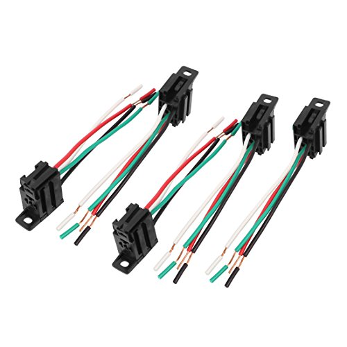 (uxcell DC 12V/24V 4-Pin Relay Socket Harness Holder Connector 5pcs for Car Truck)