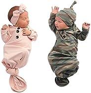 Bigbuyu Newborn Infant Baby Boy Girl Nightgowns Button-Down Sleeping Bags Swaddle 0-6 Months
