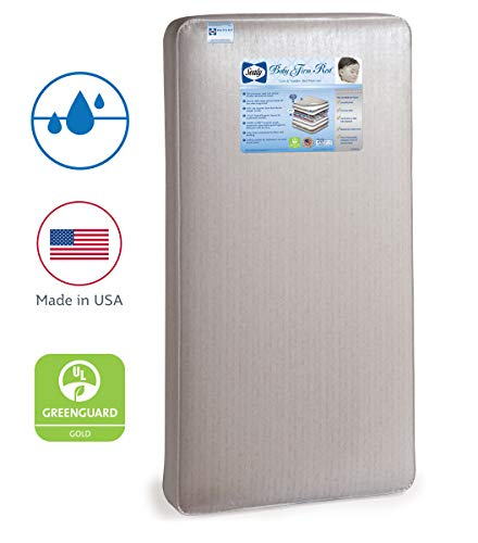 "Sealy Baby Firm Rest Waterproof Standard Toddler & Baby Crib Mattress - 204 Premium Coils, Luxury Design Pattern May Vary, 51.7"" x 27.3"""