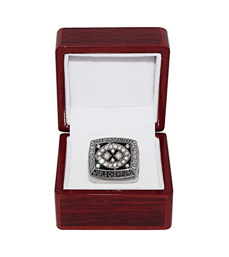 OAKLAND RAIDERS (Jim Plunkett) 1980 SUPER BOWL WORLD CHAMPIONS Vintage Rare Collectible High-Quality Replica NFL Football Silver Championship Ring with Cherrywood Display Box