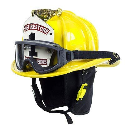 Cairns Yellow N6A Houston Leather Fire Helmet - Yellow, Large, NFPA Bourkes (Best Leather Fire Helmet)