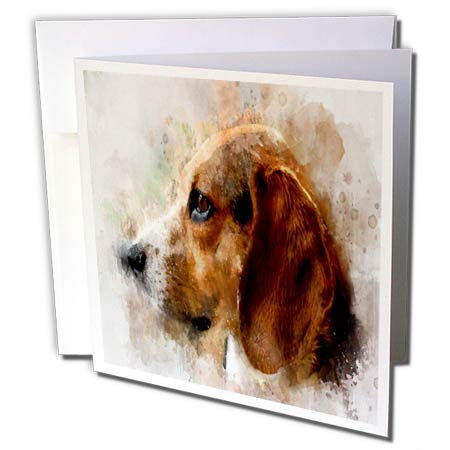 3dRose Lens Art by Florene - Watercolor Art - Image of Beautiful Beagle Portrait in Watercolor - 12 Greeting Cards with envelopes (gc_304509_2)