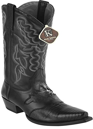 Womens Snip Toe Black Genuine Leather Saddle Teju Skin Western Boots f9miwc1GTU