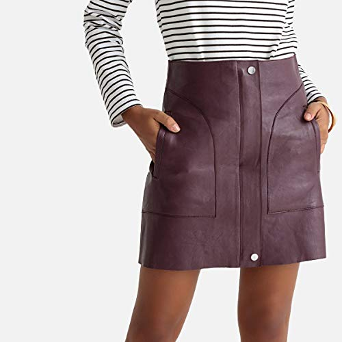 La Redoute Collections Womens Leather Zipped Mini Skirt Red Size US 8 ()
