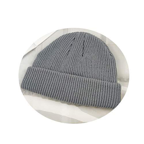 (Knit Cap Solid Color Autumn Winter Hat Men Short Head Cap Outdoor Warm Melon Cap Street Head Cap Woman Gr)