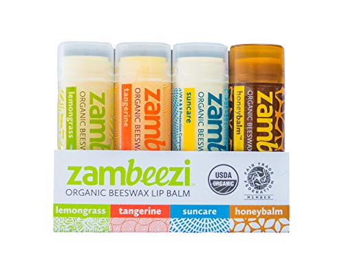 ZAMBEEZI Fair Trade, Organic Beeswax Lip Balm Variety 4 Pack