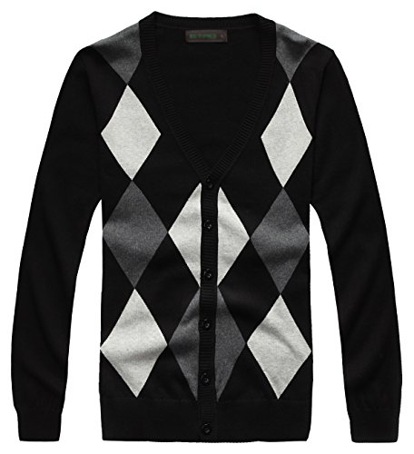 Fanhang Men's Cotton Knitted Button Down Cardigan Sweater With Diamond Lattice Pattern (L, BLACK)