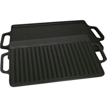 King Kooker Pre-Seasoned 28'' Cast Iron 2-Sided Griddle, 1.25'' H x 28'' W x 14'' D by King Kooker