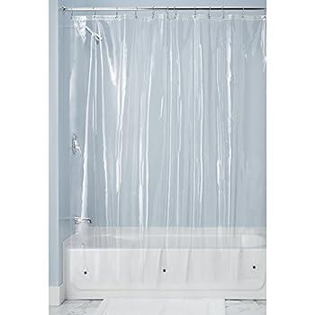 MDesign 10 Gauge Heavy Duty Vinyl Shower Curtain Liner, 100% Waterproof,  Mildew Resistant, Reinforced Header, Rustproof Grommets, Weighted Magnetic  Hem ...