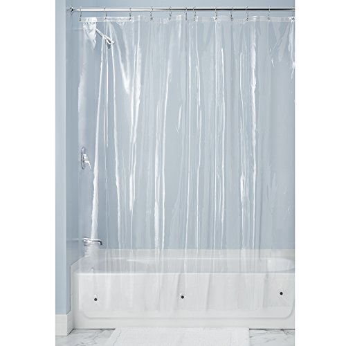 MDesign 10 Gauge Heavy Duty Vinyl Shower Curtain Liner 100 Waterproof Mildew Resistant Reinforced Header Rustproof Grommets Weighted Magnetic Hem