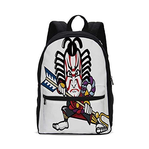 Kabuki Mask Decoration Fashion Canvas printed Backpack,Scary Looking Ronin Figure with Weapon Exotic Samurai Mythology East Decorative for school,One_Size ()