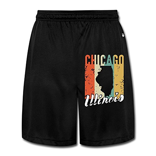 Retro Jersey 1970 (MH08OMG Retro 1970's Style Chicago Illinois Men's Soft Quick-Dry Gym Jersey Shorts)