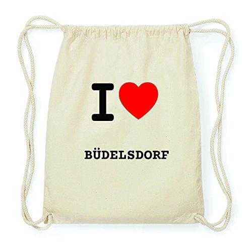 JOllify BÜDELSDORF Hipster Turnbeutel Tasche Rucksack aus Baumwolle - Farbe: natur Design: I love- Ich liebe
