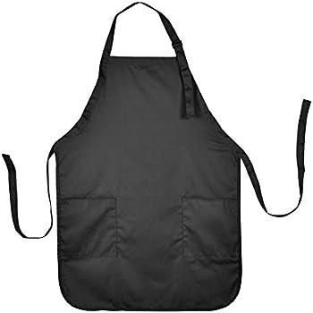 Perfect Apron Commercial Restaurant Home Bib Spun Poly Cotton Kitchen Aprons (2  Pockets) In Black