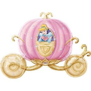 TY-P2C Wonderful Double Sided Disney Princess Carriage Shaped Jumbo Foil Party Balloon For -