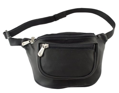 Piel Leather Travelers Waist Bag, Black, One (Piel Fanny Pack)