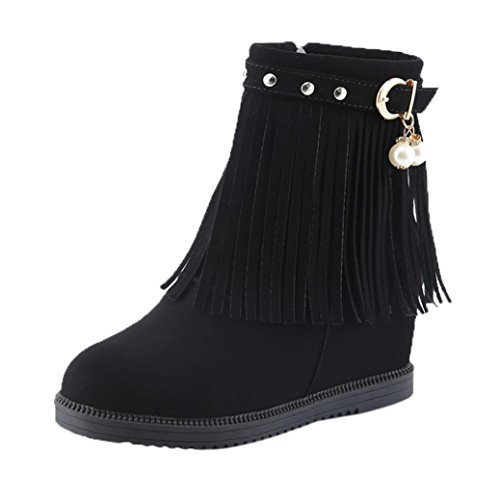 Aurorax Women's Suede Tassel Increase Boot Ankle Motorcycle Boots Western Boots Warm Low Wedge Biker Ankle Trim Flat Martin Shoes (Black, 37)