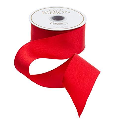 Caspari Solid Red Satin Wired Ribbon – 27 Foot Spool