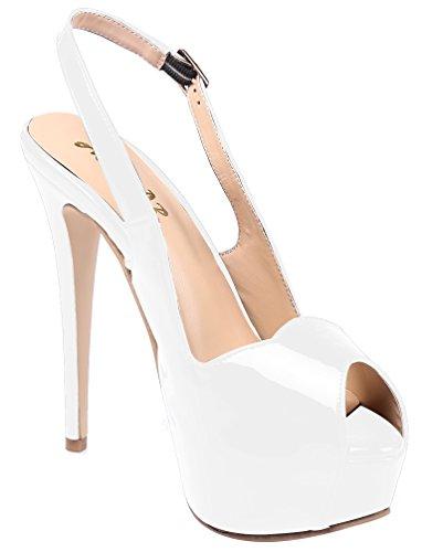 AOOAR - Plataforma Mujer Weiß/Lackleder